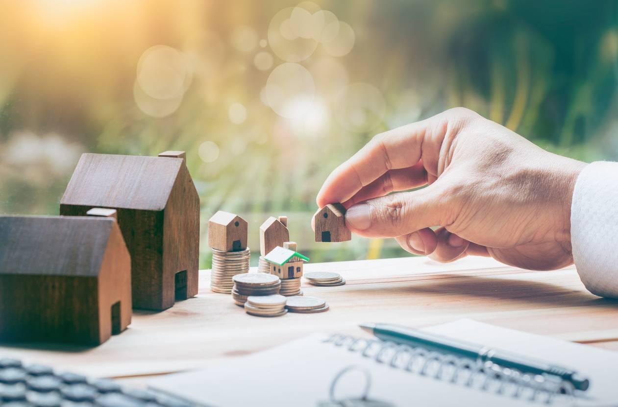 Une main avec maisons et pièces