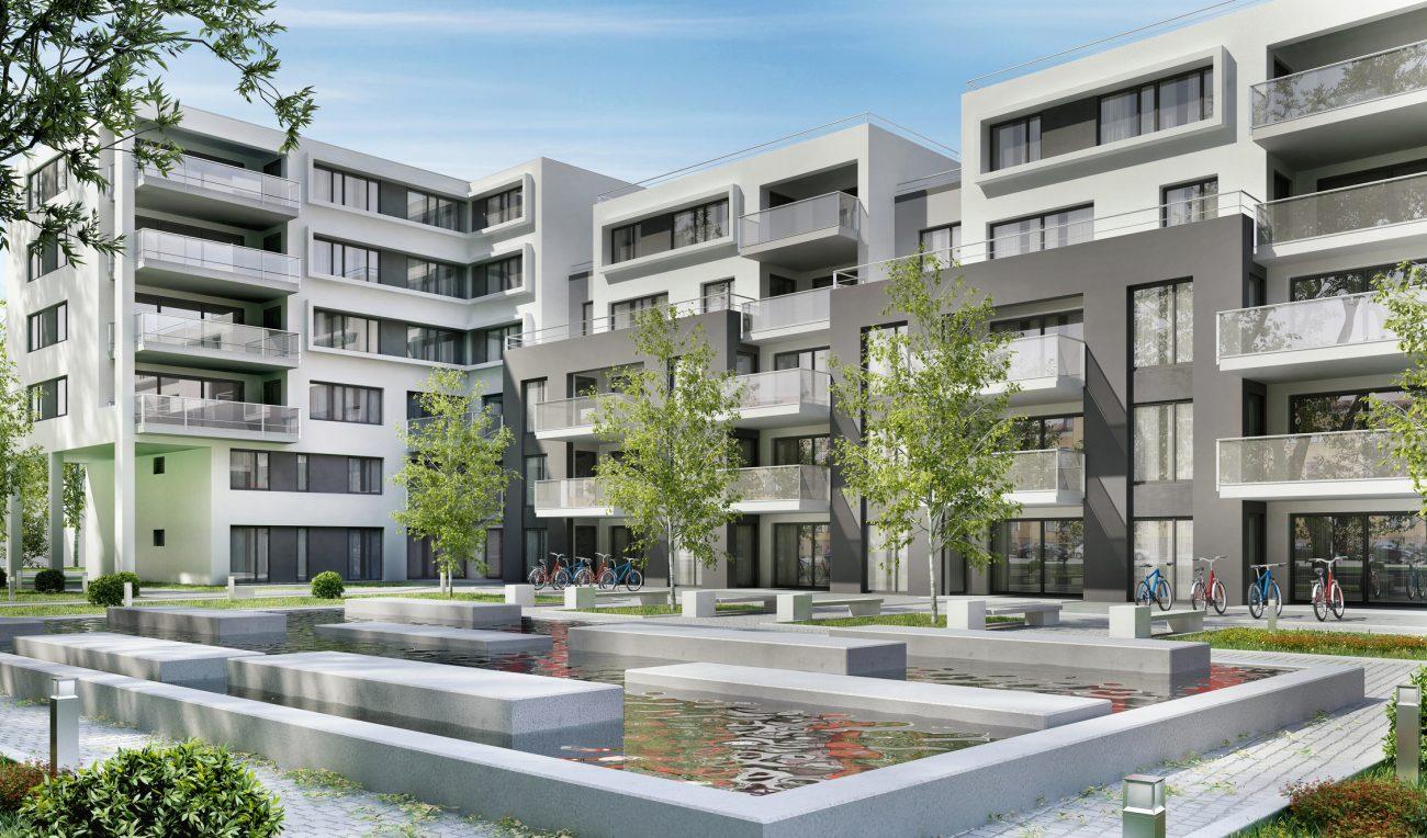 Une résidence d'immeubles neufs